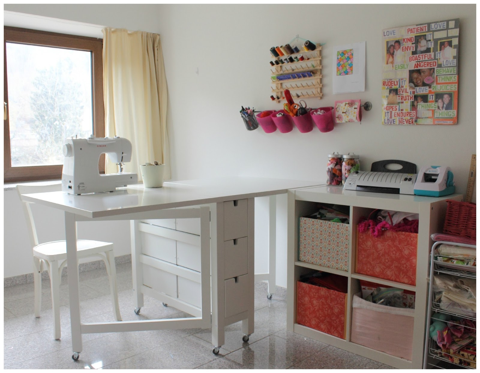 Make it cozee norden gateleg with wheels sewing table - Small space sewing area style ...