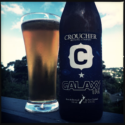 Bottle of Croucher's Beer, Galaxy IPA. Taken on my deck.