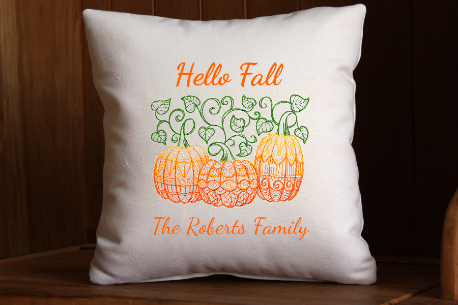 Hello Fall Pillow | Personalized with Family Name | Pumpkin Pillow | 16 x 16 inch | Insert Included | Belinda Lee Designs