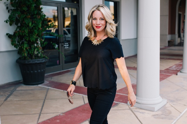 Fall fashion - all black, Topshop scallop tee