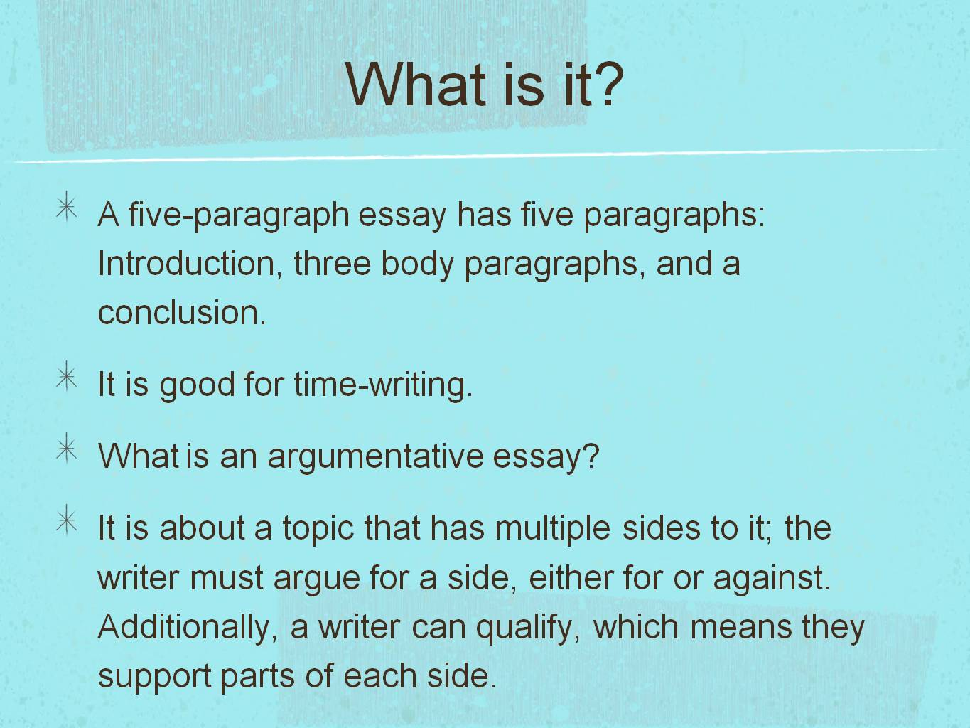 key components of a five paragraph essay It states the writer's thesis or provides an overview of key topics in the form of an umbrella statement optional components you do not need to include all of the following in your report, only what you deem to be necessary.