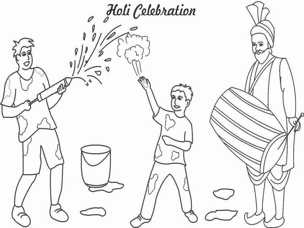 Happy Holi Coloring Pages Wallpapers For Kids - HD ... Holi Pictures For Colouring