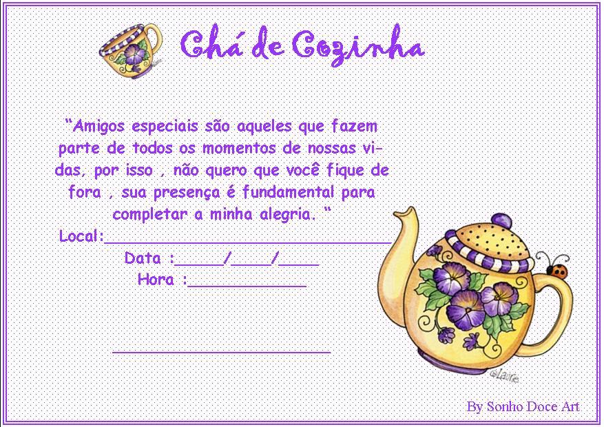 Sonho Doce Art Modelo De Convite Chá De Cozinha