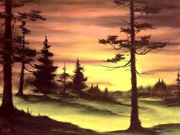 Evergreens at sunset; Bob Ross