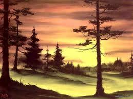 Evergreens at sunset; Bob Ross