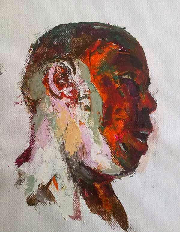 cabeza de perfil de un hombre en con acrilico