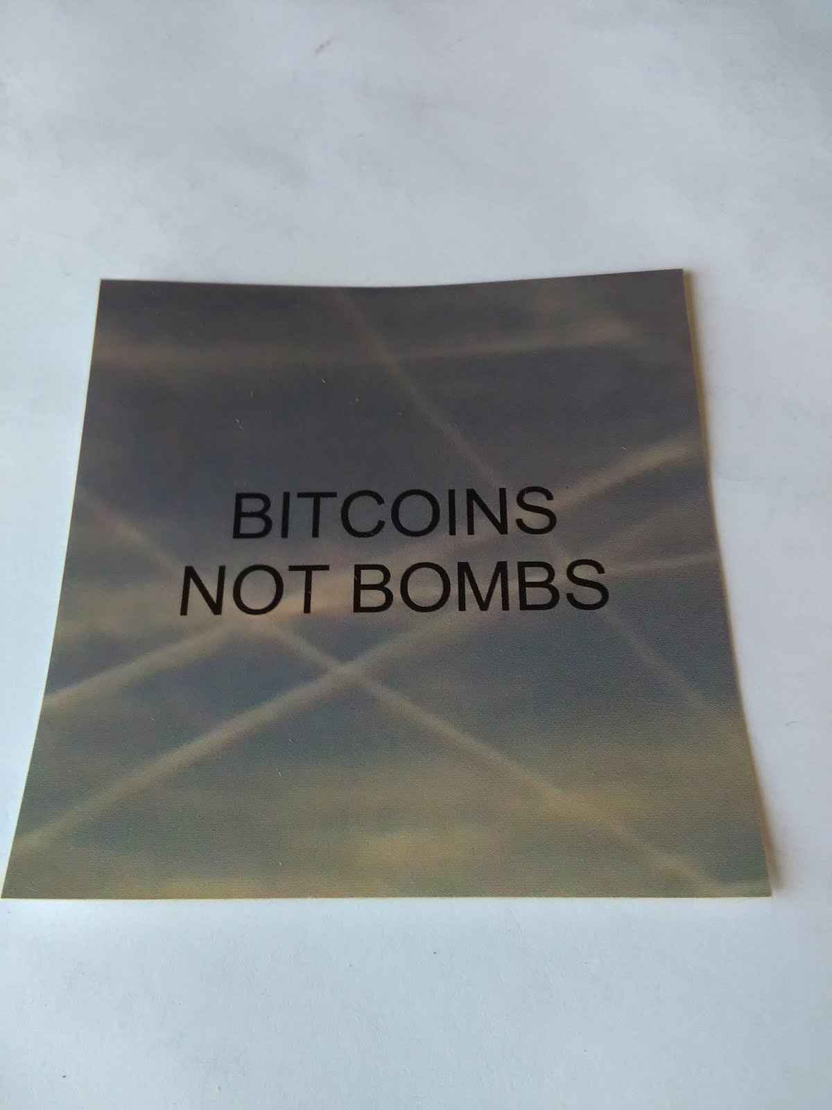 BITCOINS NOT BOMBS - QUALITY VINYL STICKER - JUST 3.98