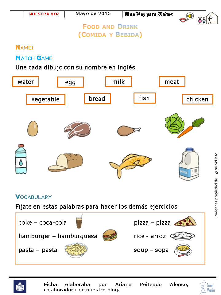 Blog de cocina juan mar a actividades vocabulario en ingl s - Alimentos en ingles vocabulario ...