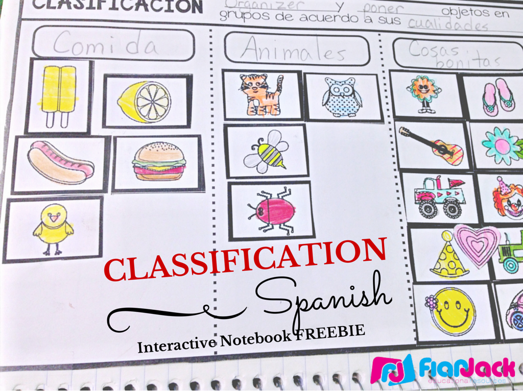 Classification SPANISH Interactive Notebook FREEBIE