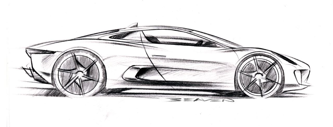 Jaguar c x75 concept 2010 sketsa mobil - Jaguar dessin ...