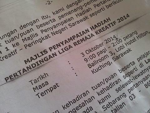 Info Majlis Penyampaian Hadiah Liga Remaja Kreatif 2014 Peringkat Negeri / Zon