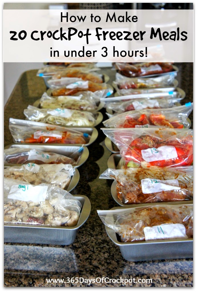 20 crockpot freezer meals made in 2 1/2 hours.  This is perfect for a busy parent.  Make 20 meals on a Saturday and have enough meals for every weekday of the month!
