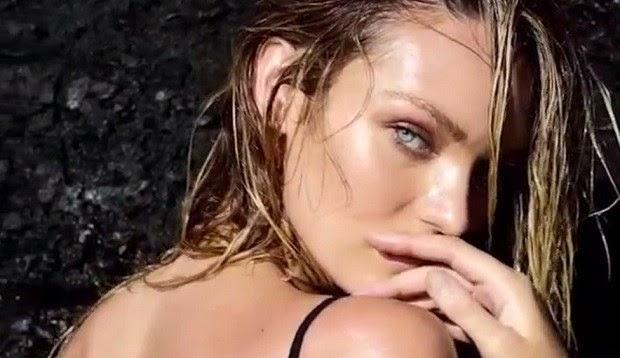Com um maiô cavado e decotadíssimo, a modelo posou para a campanha da Victoria's Secrets no Havaí