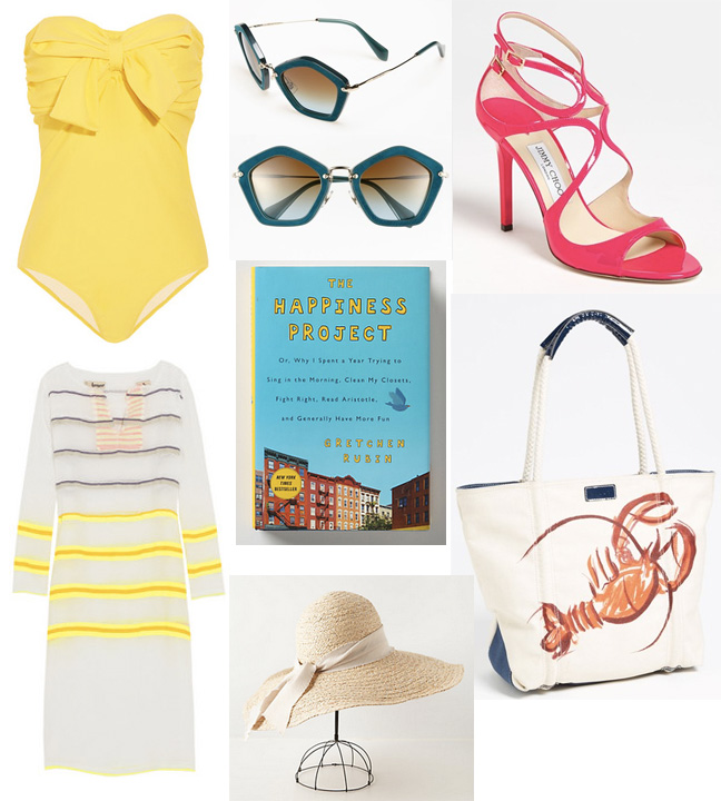 style blog, style blogger, fashion blog, womens style, miu miu bow embellished bandeau swimsuit, miu miu, yellow swimsuit, cover up, lemlem walsh neon striped cotton blend voile tunic, miu miu geometric sunglasses, jimmy choo, hot pink heels, jimmy choo lang sandal, milly, tote, lobster bag, milly lobster print canvas tote, the happiness project, adalia sun hat, hat, sun hat