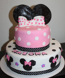 2 tier minnie mouse birthday cake