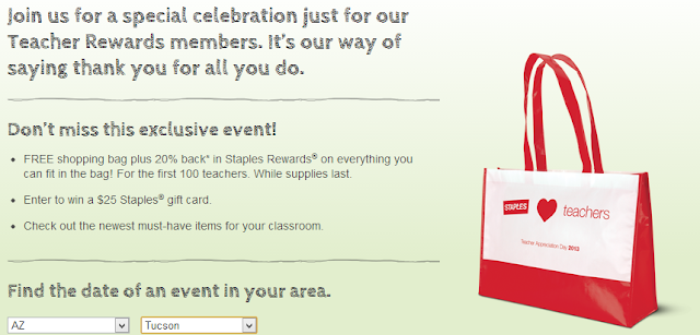 free shopping bag at staples for teachers appreciation day august