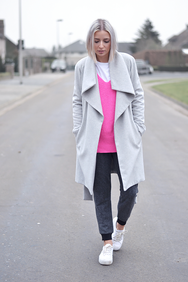 Barbie pink, sweater, zara, grey coat, wool, mango, baseball top, asos, white, flatforms, dino, wool, joggers, outfit