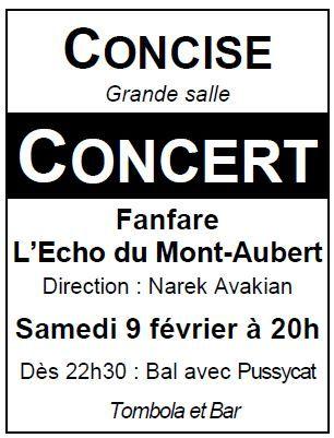 Affiche de soirée annuelle de la Fanfare de L'Echo du Mont-Aubert