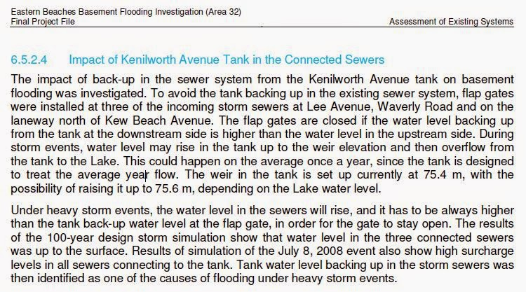 But The Kenilworth Tank And Related Flap Gates Were Cited In The Class EA  As The Cause Of Flooding (excerpt From The Class EA Study):