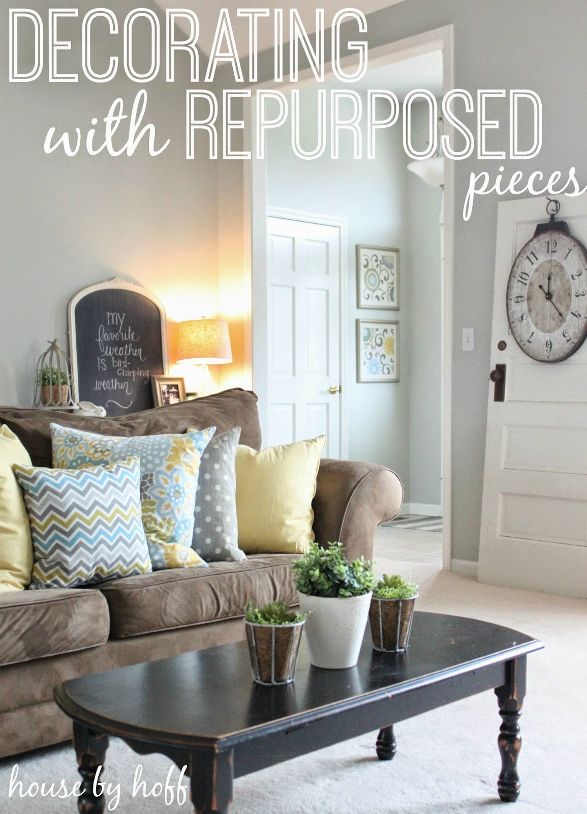 how to decorate with repurposed items via housebyhoff.blogspot.com