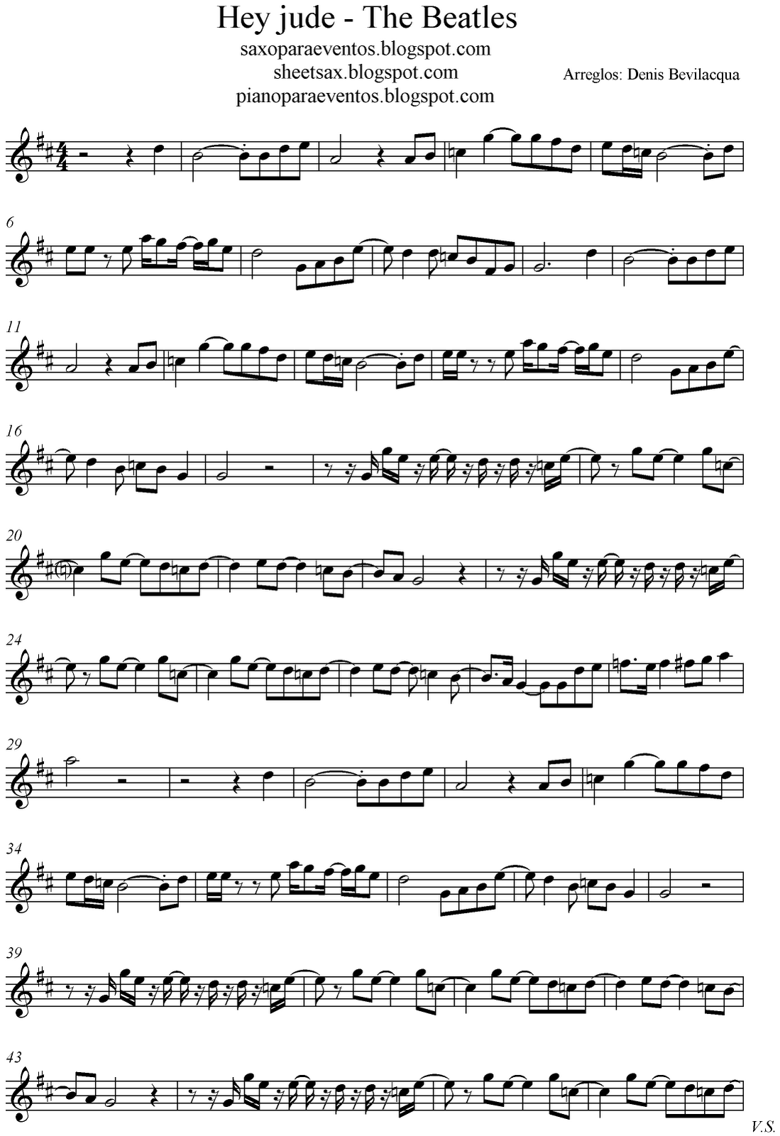 hey jude   the beatles score and track sheet music free