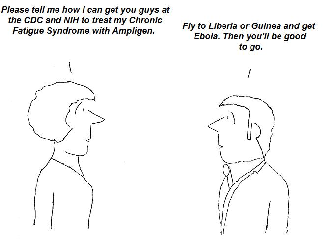 cartoon, ampligen, ebola, treatment, cdc,nih, fauci