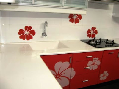 acrylic  modular kitchen Chennai with grafibe top