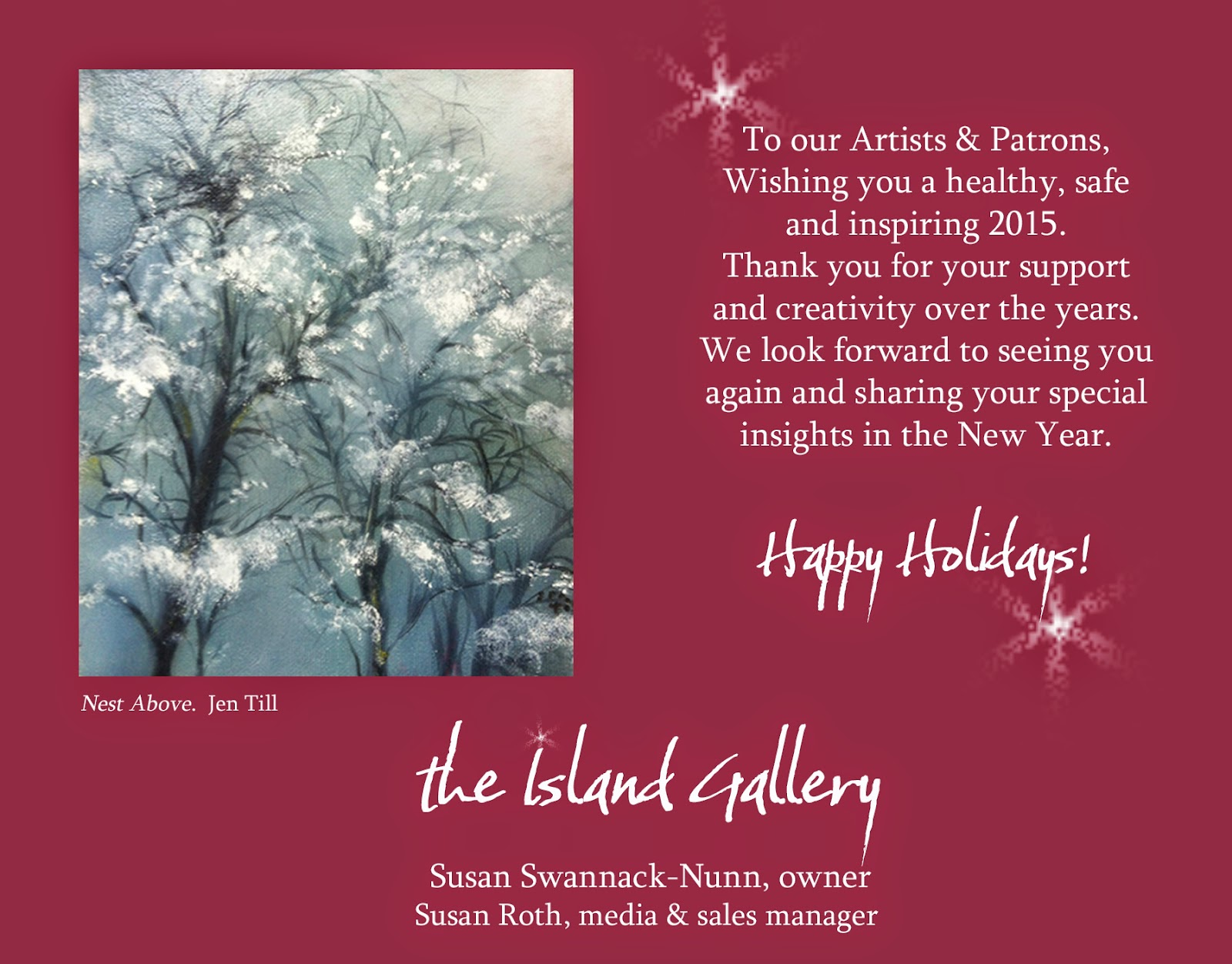 The Island Gallery Art Blog Holiday Greetings 2014