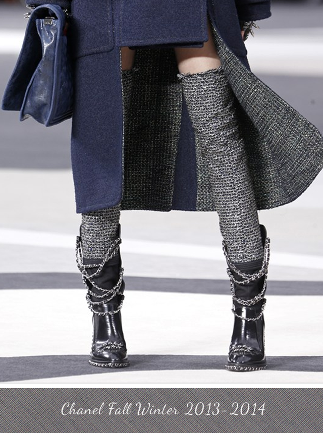 Chanel Thigh Hgh Tweed Biker Boot Fall Winter 2013 - 2014
