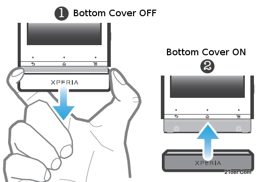 bottom cover of Sony Xperia U ST25 and Perform Factory Hard Reset
