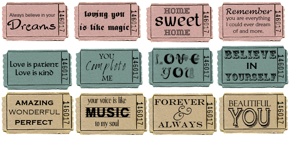 Sweetly Scrapped: Ticket Stub Printables with Love Text