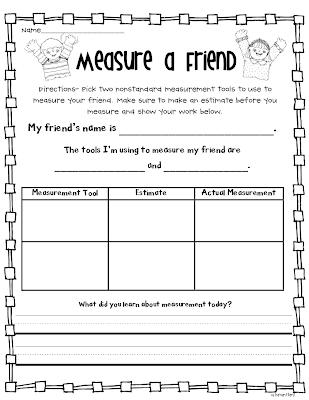 Free non standard measurement worksheets for kindergarten