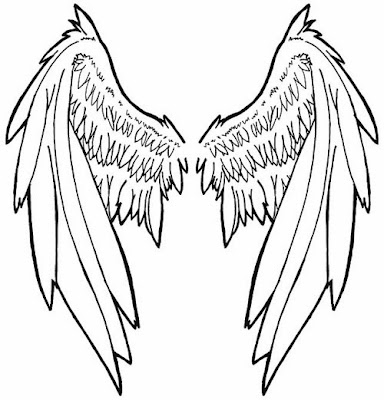 Angel close wings tattoo stencil