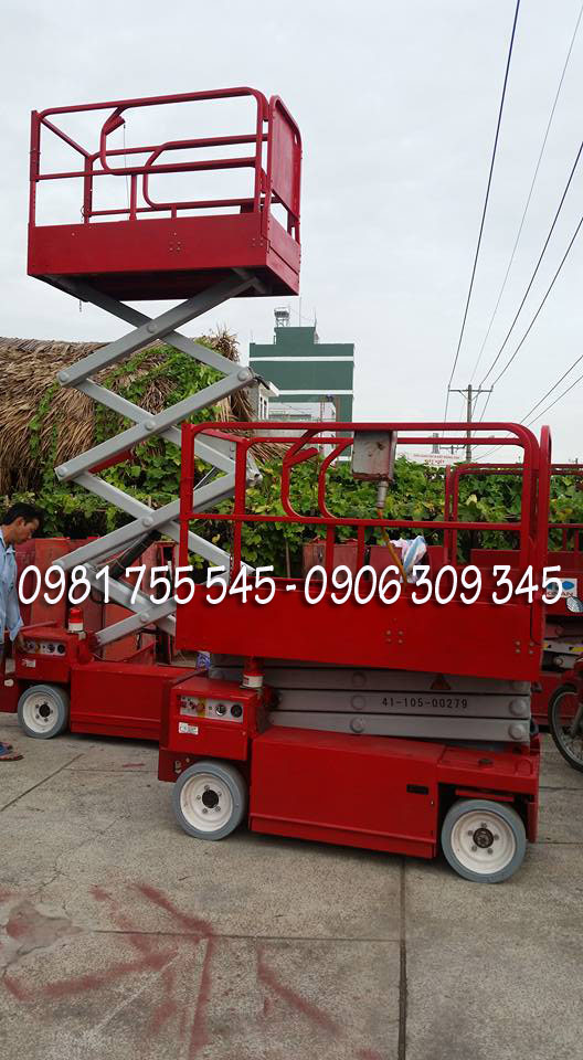 Xe nâng người chạy điện dạng cắt kéo, chữ X tự hành cũ, 6m, 8m, 10, 12m