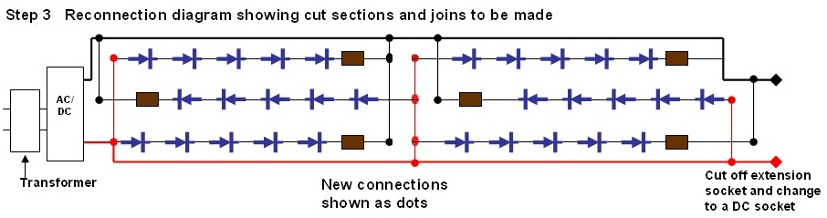 diy christmas lights modify convert 120vac set of led lights to wires to adjacent a supply wire at leds 5 10 15 20 25 repeat for label c wires to adjacent c supply wire and install resistors see diagram and