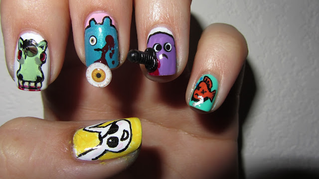 creepy, morbid, cute, silly, deadly, nail art, zombicorn, gross, adorable