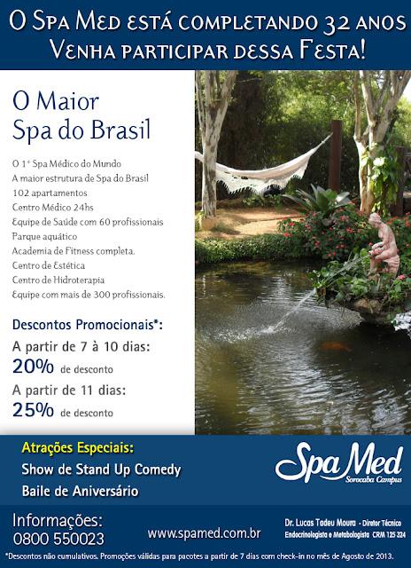 Agosto  é  mês de aniversario do Spa Med