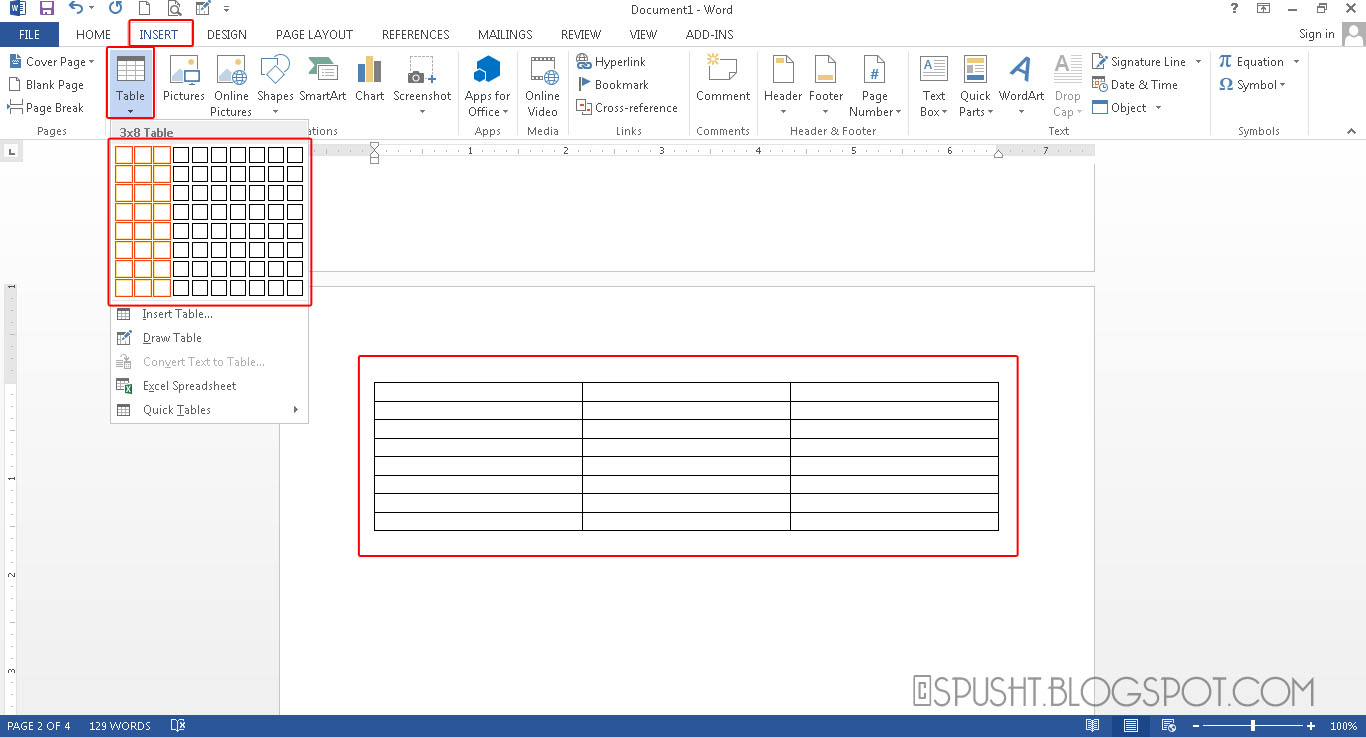 how to make table columns equal width in word