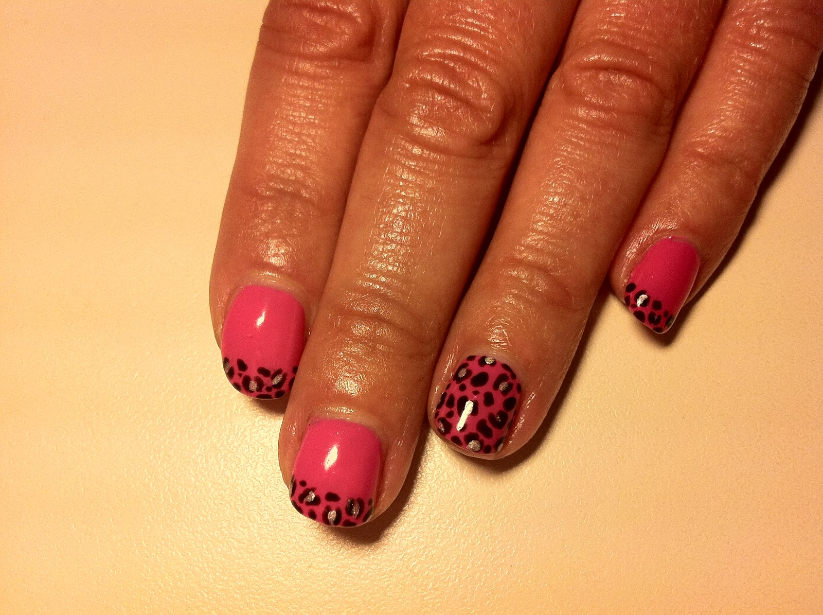 Let me introduce you to Hot Pop Pink with leopard print nail art