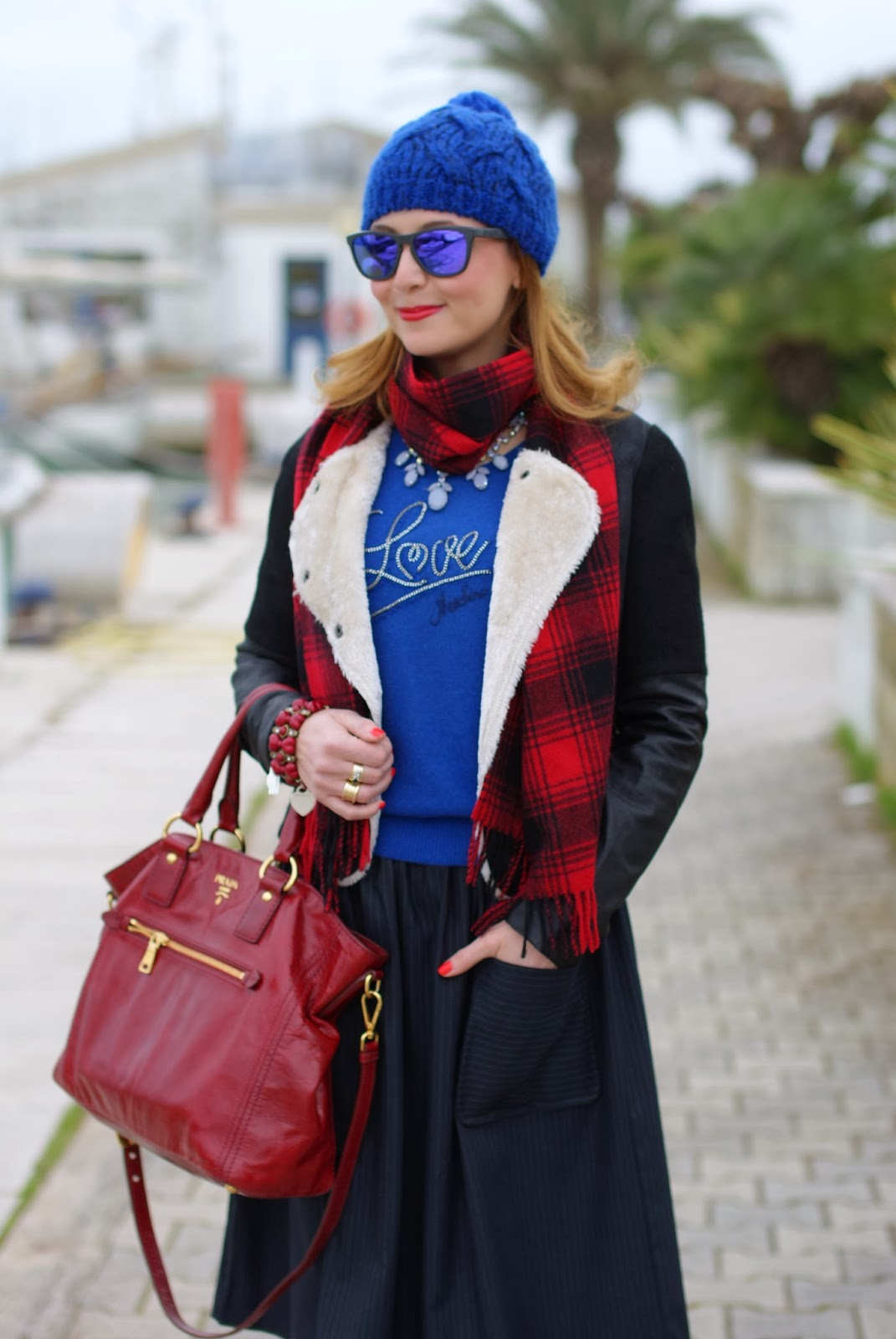 cobalt blue beanie, eco shearling, red Prada tote, Asos midi skirt, Fashion and Cookies, fashion blogger