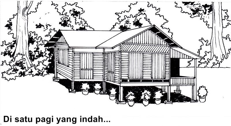 lukisan rumah kampung kartun