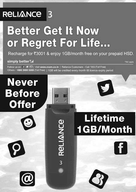 Pay Rs 3001 once and get 1Gb internet data per month for lifetime on Reliance net connect