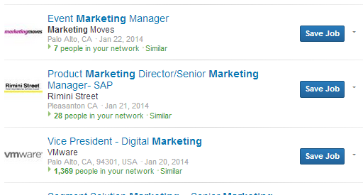 A few examples of marketing job titles