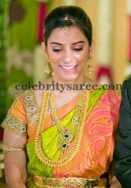 Bride in Mustard Kundan Work Blouse