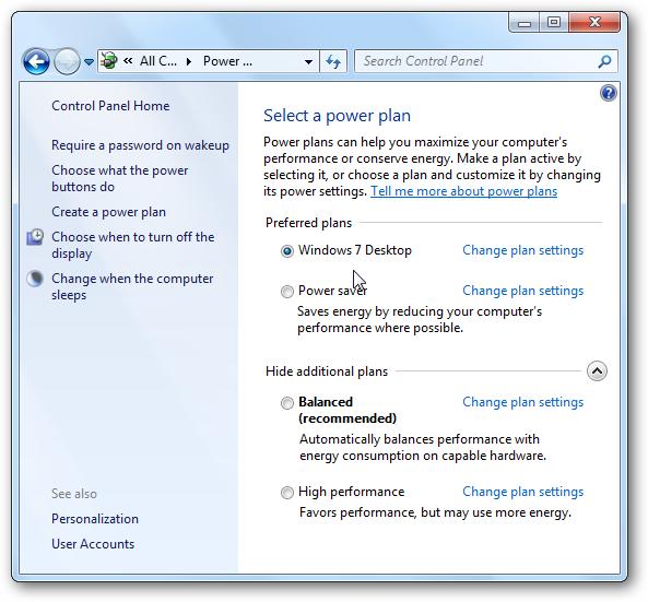 التحكم في إعدادات  الطاقة Power Settings لويندوز 7