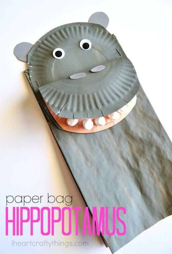 ... Paper Bag Hippopotamus Kids Craft & Paper Plate Hippopotamus | I Heart Crafty Things