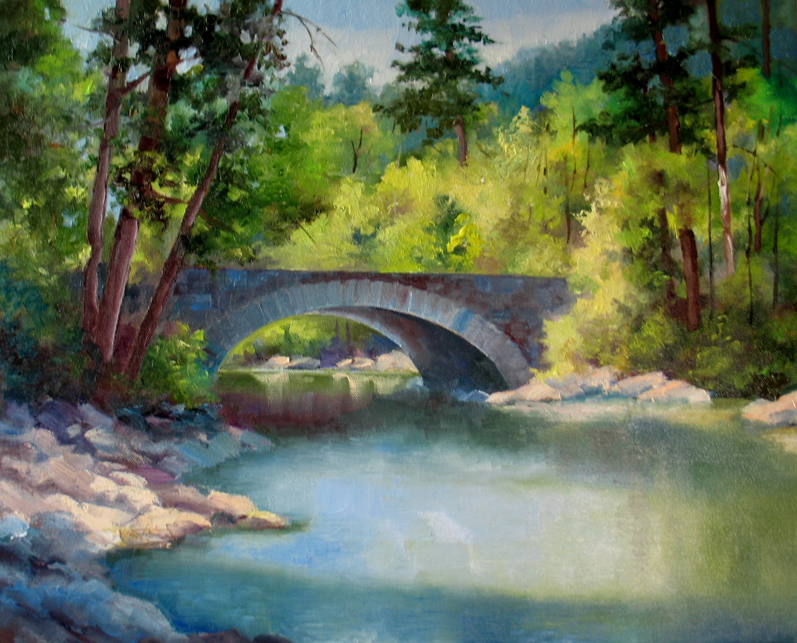 Stone bridge painting images for Airbrushing mural