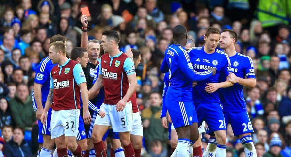 Chelsea's Matic is sent off for pushing Burnley's Barnes in anger