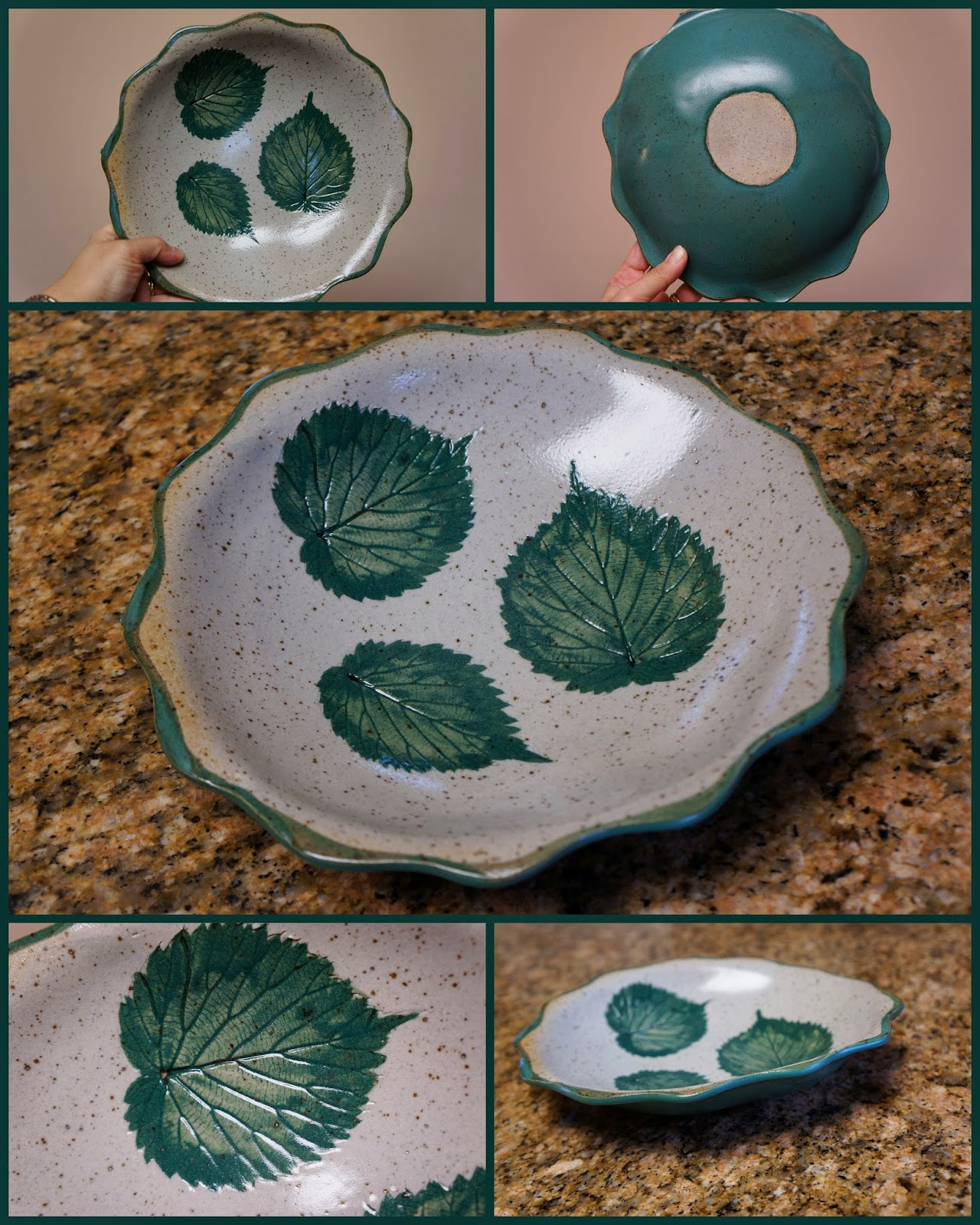 Unique handmade pottery / stoneware dish with stamped leaf design.