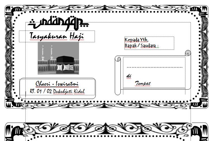 Contoh Undangan Syukuran Haji
